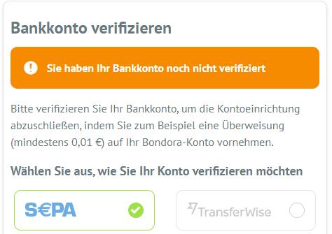 Bankkonto verifizieren - Bondora