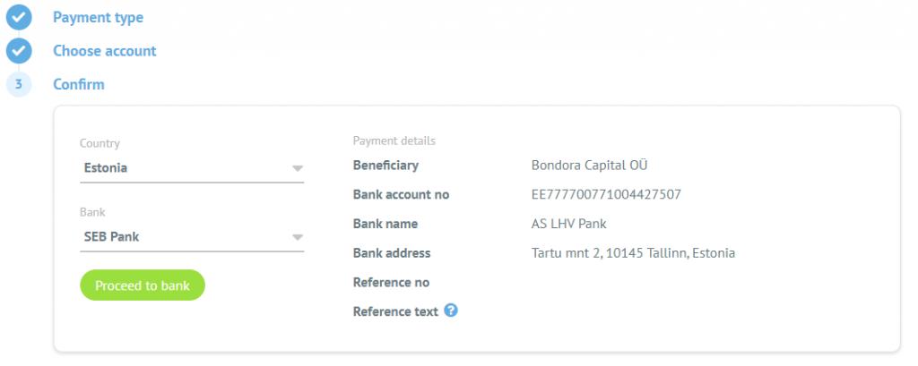 Bank list - Bondora