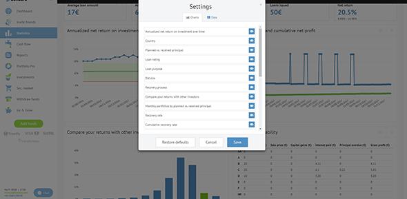 Bondora-personal-statistics-page-settings