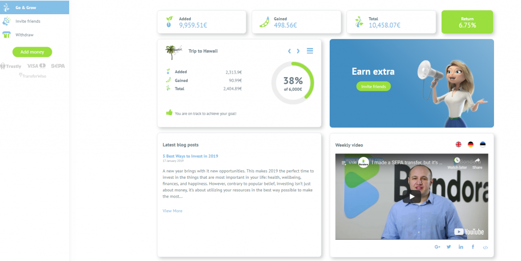 New dashboard - Go & Grow