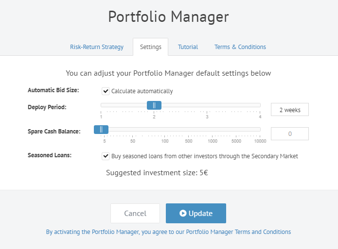 Portfolio Manager settings