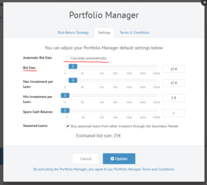 Portfolio Manager Bid Size by Default 25 EUR