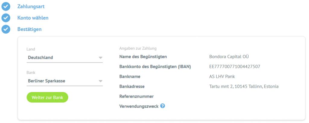 bank list DE