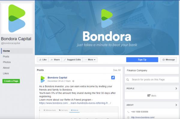 Bondora Facebook page