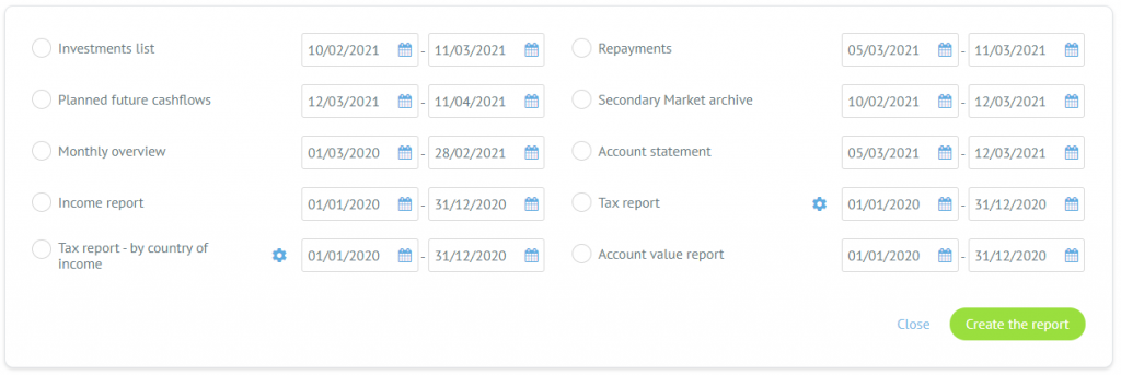 Here, you can find reports such as the Account Statement, Monthly overview, and many more.