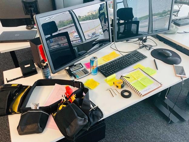 Mirjam's desk and tool belt.