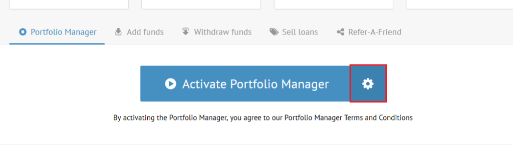portfolio manager button settings