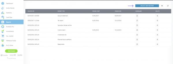 snapshot of Bondora Reports page
